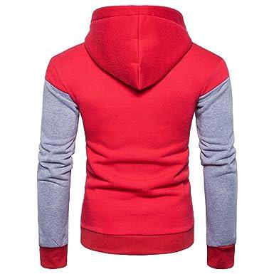 PANPANY-Ropa Hombre Costura de los Hombres con Capucha cómoda Chaqueta Deportiva Jersey suéter Casual con Capucha Superior: Amazon.es: Ropa y accesorios