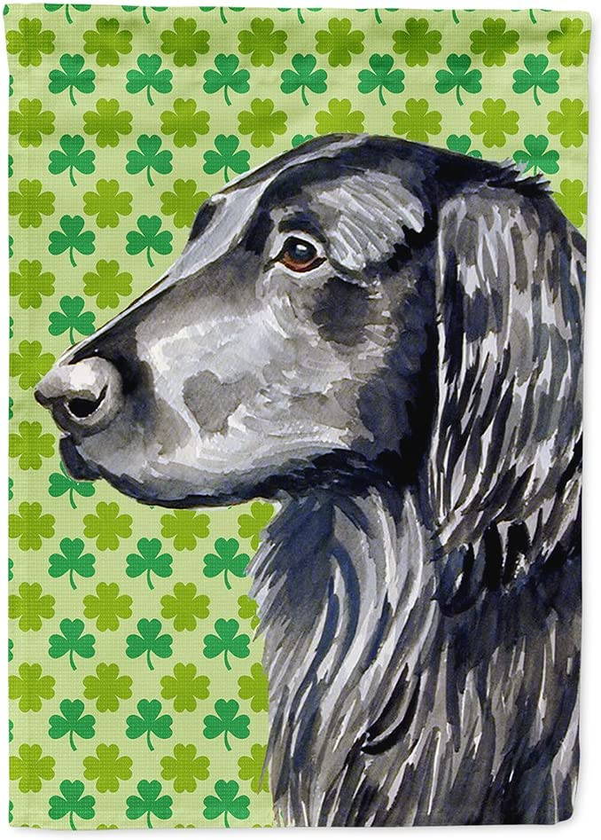 Caroline's Treasures LH9186GF Flat Coated Retriever St. Patrick's Day Shamrock Portrait Flag Garden Size, Small, Multicolor