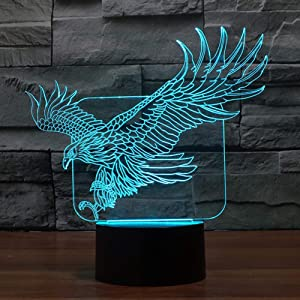 Eagle Night Light 3D Illusion Lamp YKL World Touch 7 Changing Color Lights Toys Bed Room Decor Birthday Christmas Gifts for Boys Girls Kids