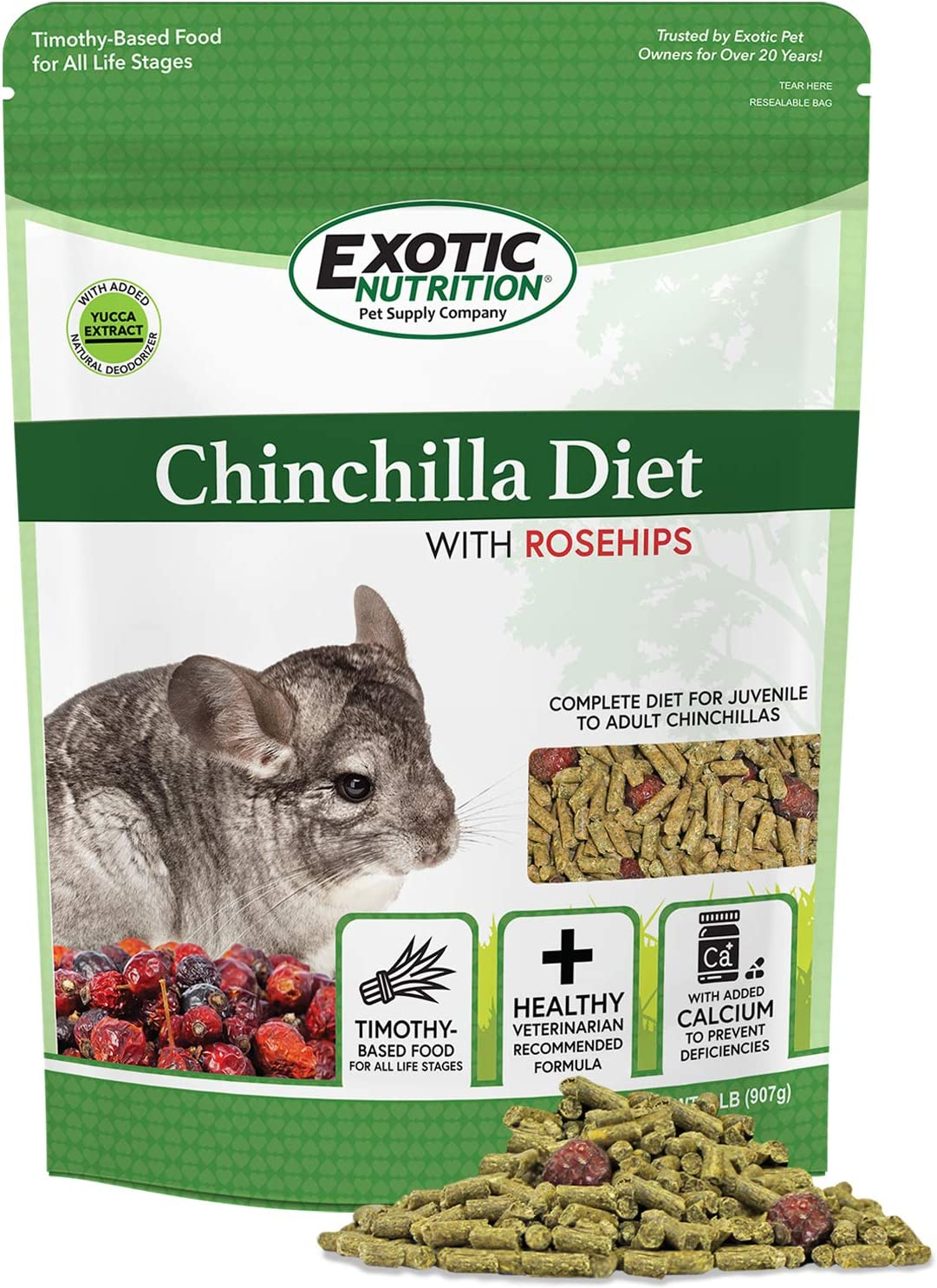 Chinchilla Diet with Rose Hips - Nutritionally Complete Natural Healthy Pellet Food for Pet Chinchillas (2 lb.)