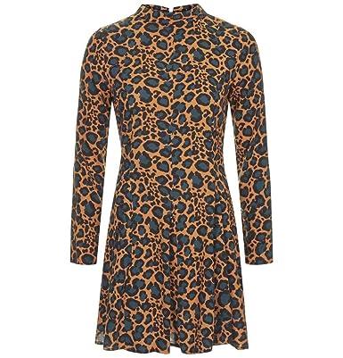 0b4597441fb8 Topshop PETITE Roll Neck Flippy Animal Leopard Print Swing Mini Dress Brown  UK 4: Amazon.co.uk: Clothing