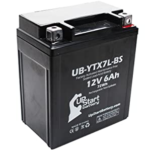 Replacement for 2006 Kawasaki EX250 Ninja 250CC Factory Activated, Maintenance Free, Motorcycle Battery - 12V, 6Ah, UB-YTX7L-BS