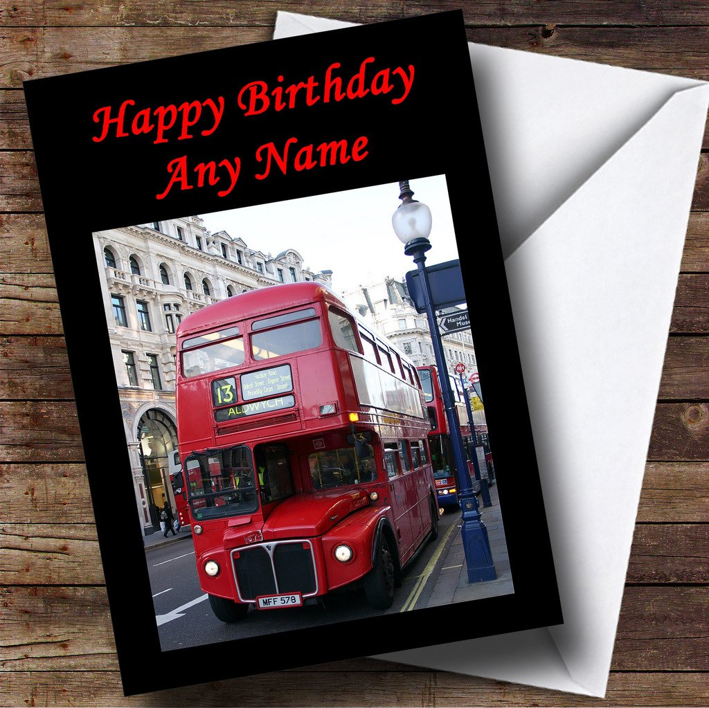 Red London Bus Personalised Birthday Card Amazoncouk Office – London Birthday Cards