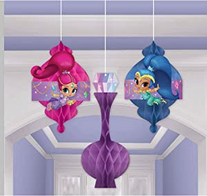 amscan 291653 Honeycomb Decoration Shimmer and Shine Collection 3 pcs Party Accessory, Multicolor, One Size