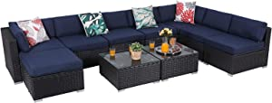 PHI Villa Outdoor Sectional Furniture All-Weather Wicker Patio Sofa Set Low-Back Rattan Patio Conversation Set with Tea Table & Washable Couch Cushions(10 Piece, Blue)