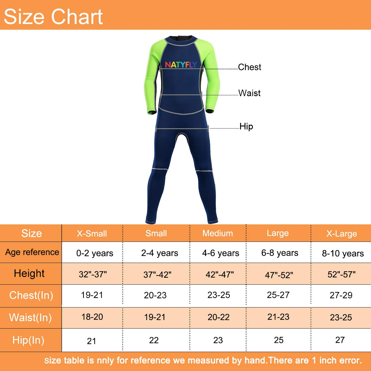 NATYFLY Neoprene Wetsuits for Kids Boys Girls Back Zipper One Piece Swimsuit UV Protection-Brand (Green-2MM-Long Sleeve, M-for Height 42''-47'')