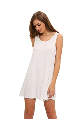 ROMWE Women's Casual T-Shirt Sleeveless Swing Dress Tunic Tank Top Dresses