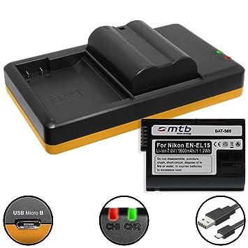 2 Baterías + Cargador doble (USB) para EN-EL15(A) / Nikon 1 V1, D500, D600, D610, D750, D800(E), D810(A/E), D850, D7000, D7100, D7200, D7500 (contiene ...