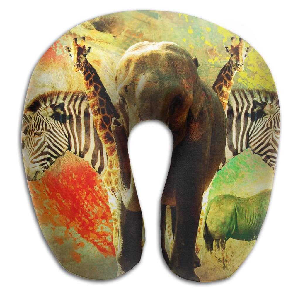 U-Shaped Pillow Neck Shoulder Body Care African Wild Animals Creative Design Artwork Health Soft U-Pillow For Home Travel Flight Unisex Supportive Sleeping