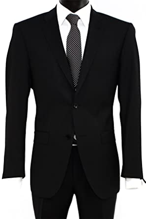32aae83b89 Roy Robson Reda Super 110 2 Button Suit in Black - Grey -  Amazon.co.uk   Clothing