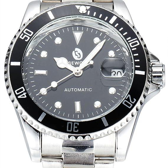 Los relojes del negocio de moda de acero Movimiento Sewor mecánico automático relojes suizos corona a rosca de los hombres de: Amazon.es: Relojes