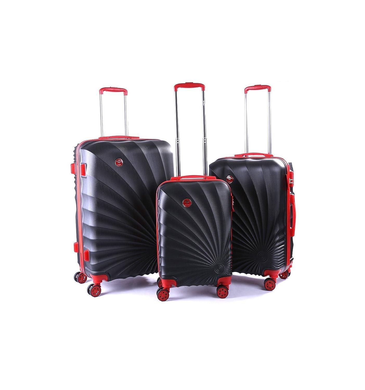 Lee Cooper Harvey - Pack de 3 valises Trollet Rigide Noir ABS (4 Roues)