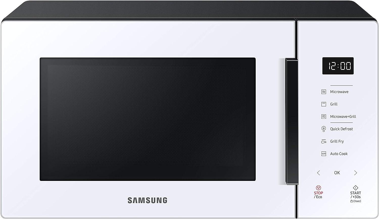 Samsung MG23T5018CW - Microondas con Grill 23L 800W, Blanco, Cerámica Enamel, Grill Fry y Stand by Eco