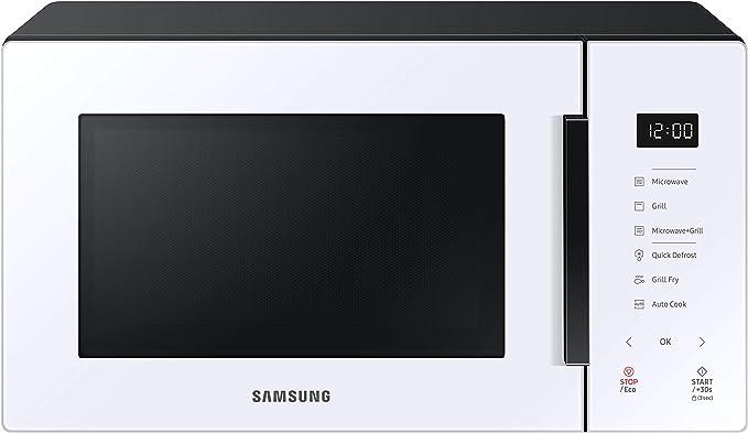 Opinión sobre Samsung MG23T5018CW - Microondas con Grill 23L 800W, Blanco, Cerámica Enamel, Grill Fry y Stand by Eco