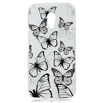 ZSTVIVA PC Funda Carcasa para Motorola Moto G2 4G 2nd Generation Case las Mariposas Transparentes Negras Diseño Caja Cubierta Caso - Blanca