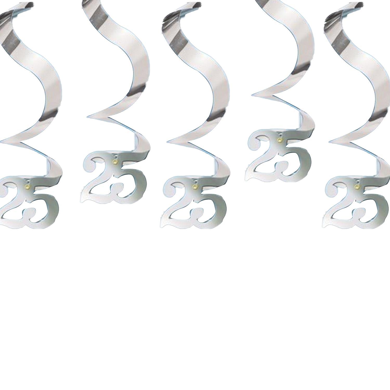 Pendenti A Spirale Argentati Per 25° Anniversario - Conf. 5 Pezzi Ballon Express srl Amscan 679090