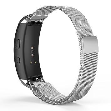 MoKo Samsung Gear Fit2 y Fit 2 Pro Correa de Reloj, Pulsera Milanesa Loop Correa Acero Inoxidable Brazalete SmartWatch Banda + Conector para Samsung ...