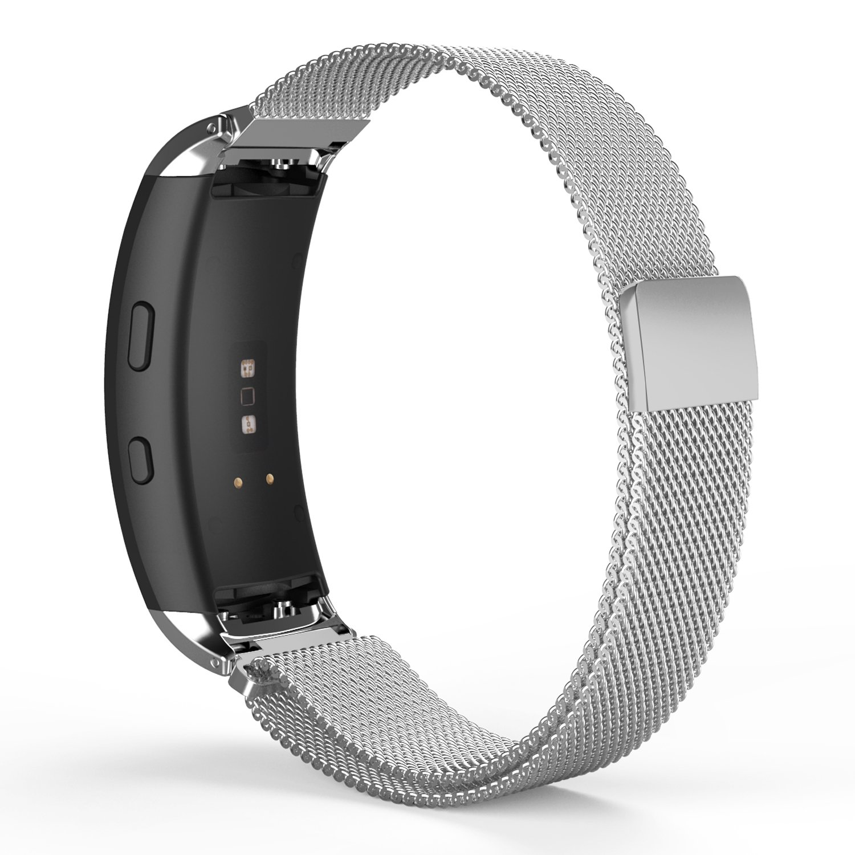 MoKo Samsung Gear Fit2 / Gear Fit2 Pro Watch Band, Milanese Loop Stainless Steel Mesh Bracelet Smart Watch Strap + Connector for Samsung Gear Fit 2 SM-R360 / Gear Fit 2 Pro Smart Watch, Silver