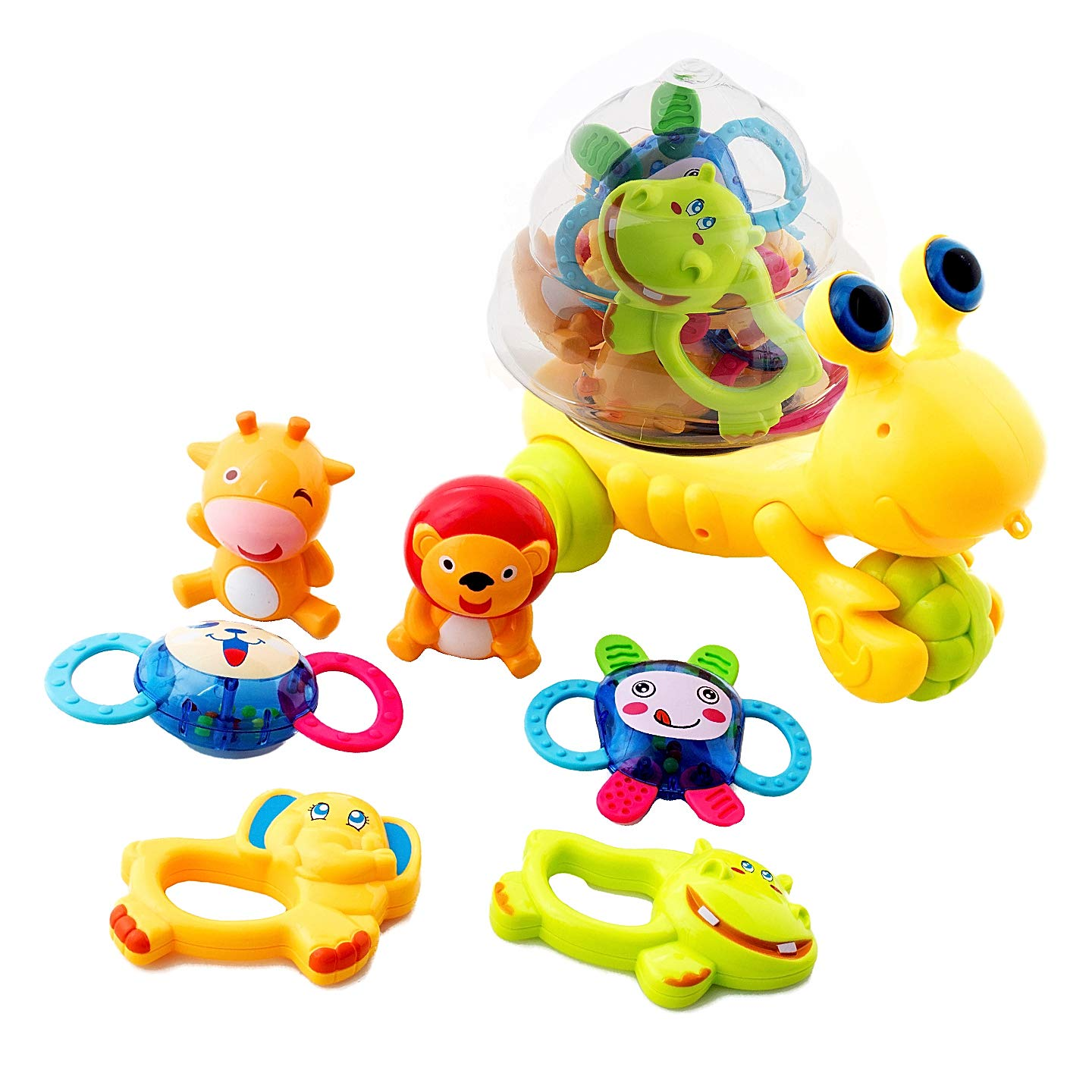 HANMUN Baby Rattles Teether Toys,Infant Shaker,Grab and Spin Rattle Set with Snail Storage Box Toys for 0,3,6,9,12 Month Old Baby Infant Newborn Boy