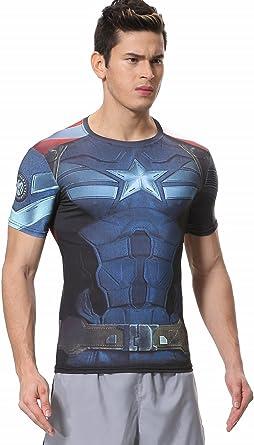 Cody Lundin - Camiseta de compresión para hombre, de manga corta, diseño del Capitán América de Los Vengadores 2