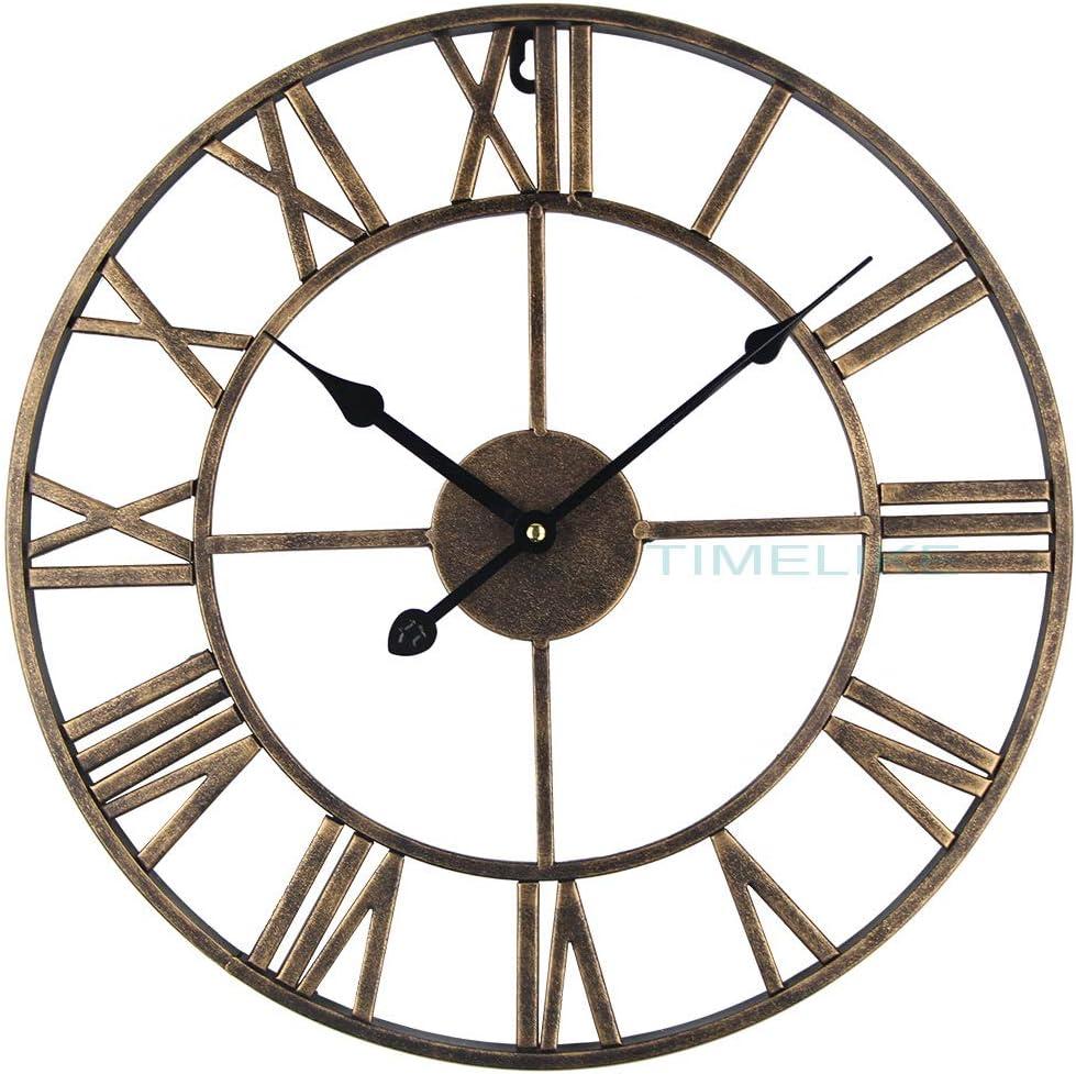 Timelike Large Roman Wall Clock, Rustic Vintage Metal Wall Clock Oversized Big Wall Clock Home Living Room Art Wall Decor (Gold, 16 Inch)