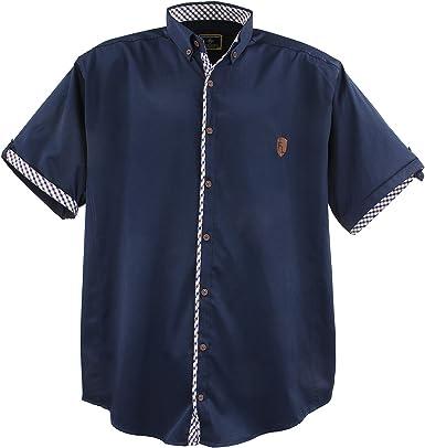 Lavecchia Camisa para hombre de talla grande, 9003 azul marino