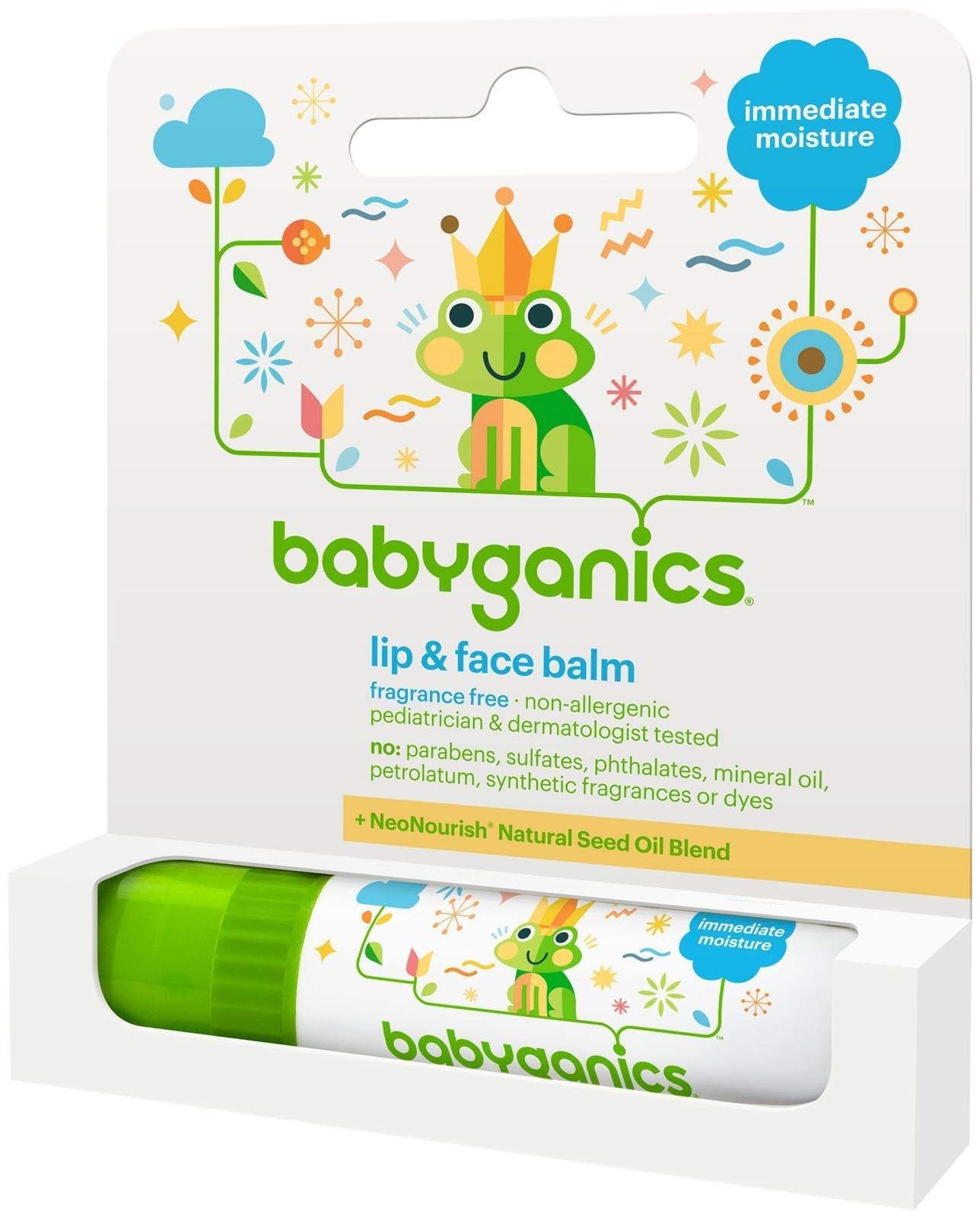 Babyganics Lip & Face Balm Fragrance Free- .25 oz