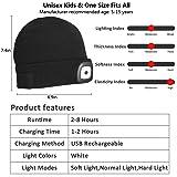 Tutuko Unisex LED Lighted Beanie Cap for Kids, USB