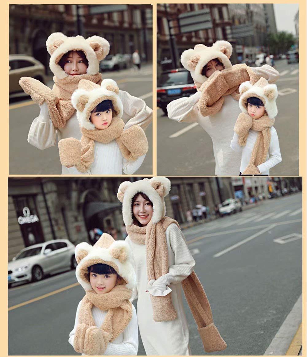 Bonnet Hiver MiniGreen Capuche 3D Motif de Ours Chapeaux Casquette Oreilles  Rondes Noeud Cagoule Gants Ensemble Echarpe Châle Calotte Chapeau pour  Enfants ... 4a8b7597524