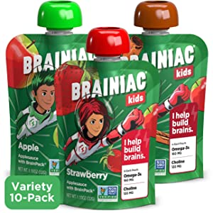 Brainiac Kids Applesauce Pouches, 3.2 Ounce (Variety Pack, 10 Count)