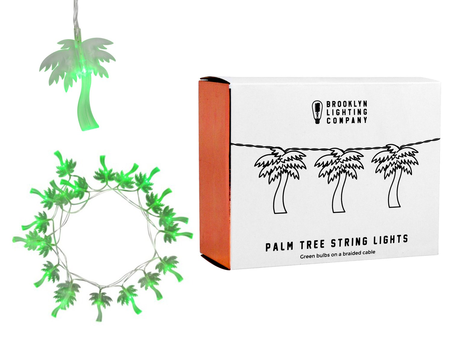 Brooklyn Lighting Company - 20 LED Palm Tree String Lights, Battery Operated String Lights, Party Decor Supplies for Indoor, 8 Feet Long by Brooklyn Lighting Company