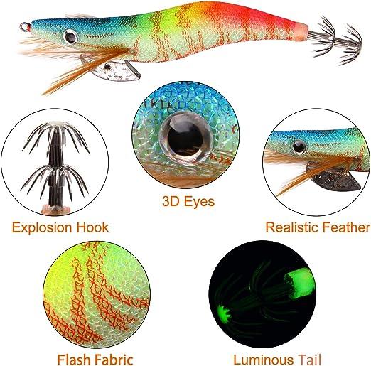 WO/_ AM/_ 3D Shrimp Fishing Lure Luminous Prawn Flick Bait Squid Jig Hook Tackle A