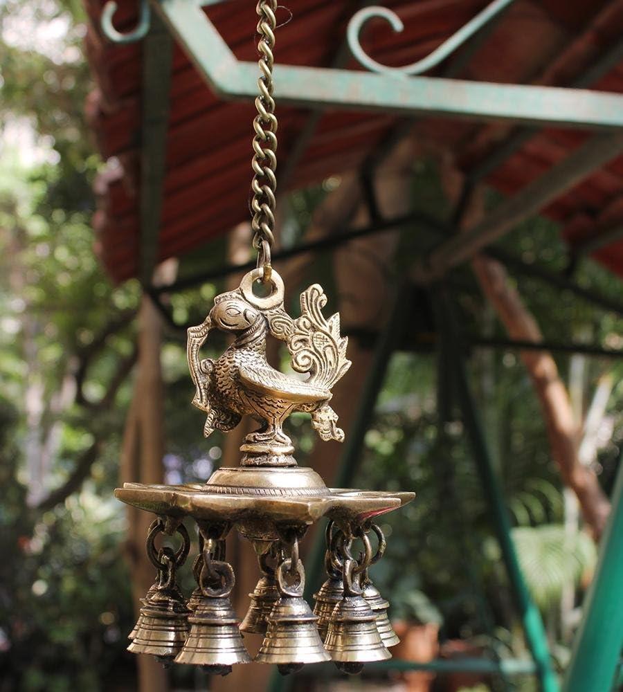 GoldGiftIdeas Brass Hanging Peacock Diya with Bells, Diya for Pooja Room, Home Decor Item, Housewarming Gift, Indian Pooja Item for Gift