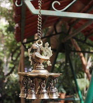 Amazon Com Goldgiftideas Brass Hanging Peacock Diya With Bells