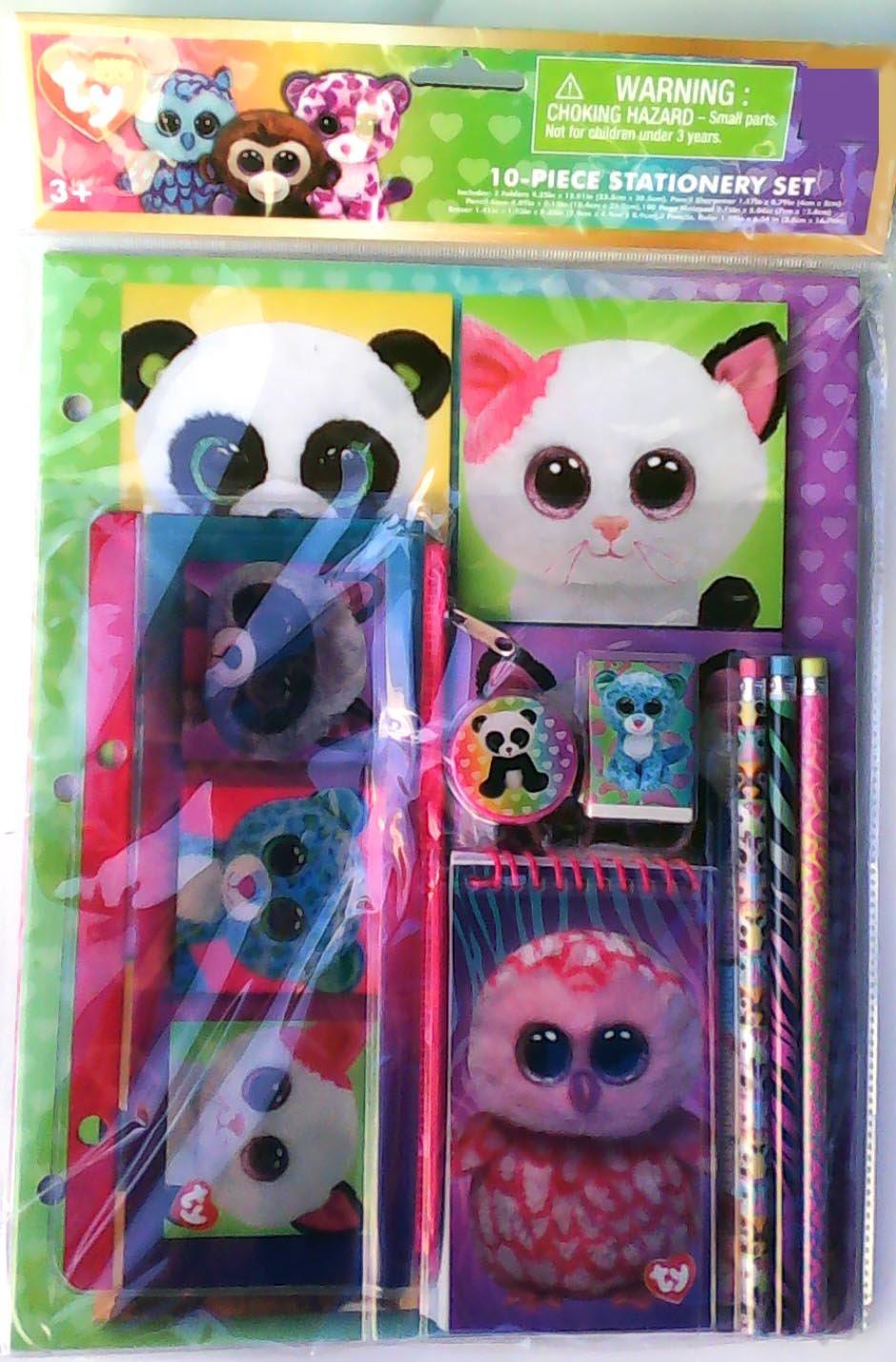 TY Beanie Boos 10 Piece Stationery Set - Folders - Notepad - Pencil Bag - Pencils - Sharpener - Eraser - Ruler Tri-Coastal Design 701817