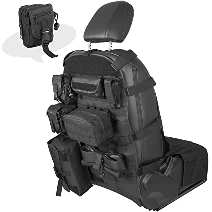 e4754c6259 Universal Front Seat Cover Case with Storage Bags Multi-Compartments Holder  Pockets Molle Pouches Stuff
