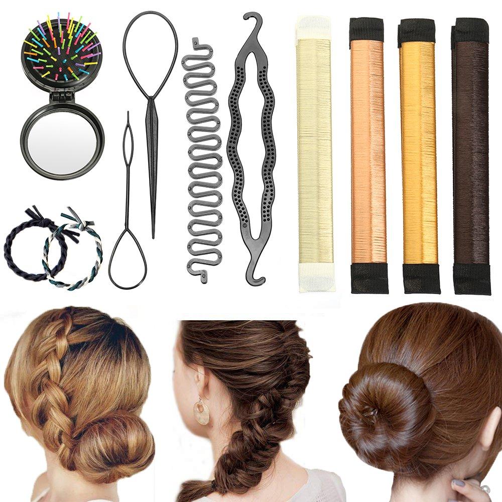 Accessoires à chignons, Vibury Ensemble de coiffure Set d'Outils de Coiffure Cheveux Coiffure Stylisée Accessoire Cheveux Filles Mousse Clip à Chignon Tresse