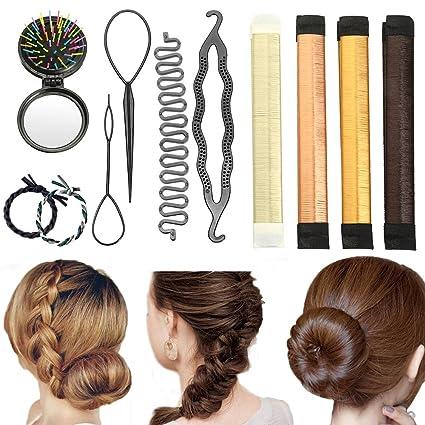 Accesorios de Peinado, Vibury Set de Diseño de Cabello Herramientas Accesorios Gomas moño de pelo