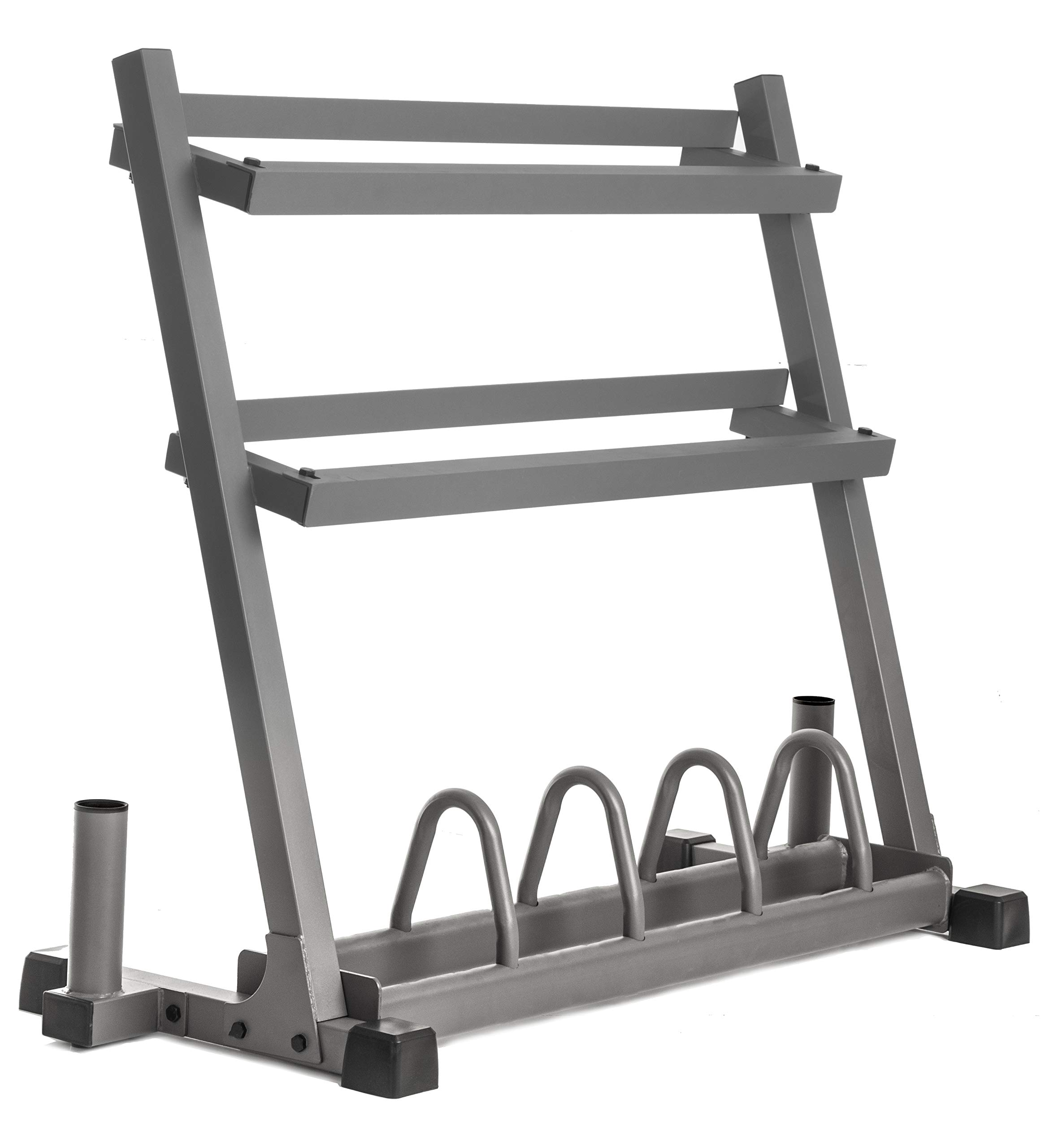 XMark All-in-One Dumbbell Rack, Plate Weight Storage and Dual Vertical Bar Holder, Design Patent Pending by XMark