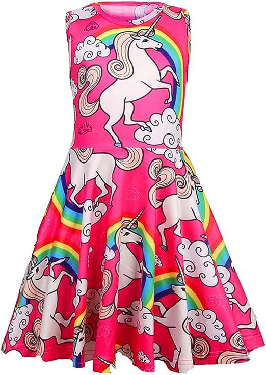 Baby Girls Unicorn Dress Striped Sleeveless Shirt Party Wedding Tulle Dresse UK