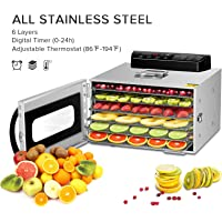 Commercial Stainless Steel Food Dehydrator -Raw Food & Jerky Fruit Dehydrator -1000W Preserve Food Nutrition Professional Household Vegetable Dryer, with 0~24 Hours Digital Timer