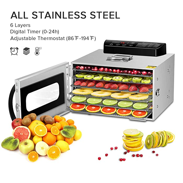 Food Dehydrator,Commercial Stainless Steel Dehydrator Raw Food & Jerky Fruit,400W Preserve Food Nutrition Professional Household Vegetable Dryer, with 0~24 Hours Digital Timer (6 Trays)