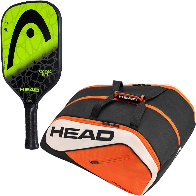 Amazon.com : HEAD Radical Elite Composite Black/Lime Pickleball Paddle Starter Kit or Set Bundled with an Orange/Black Tour Team Supercombi Pickleball Bag ...