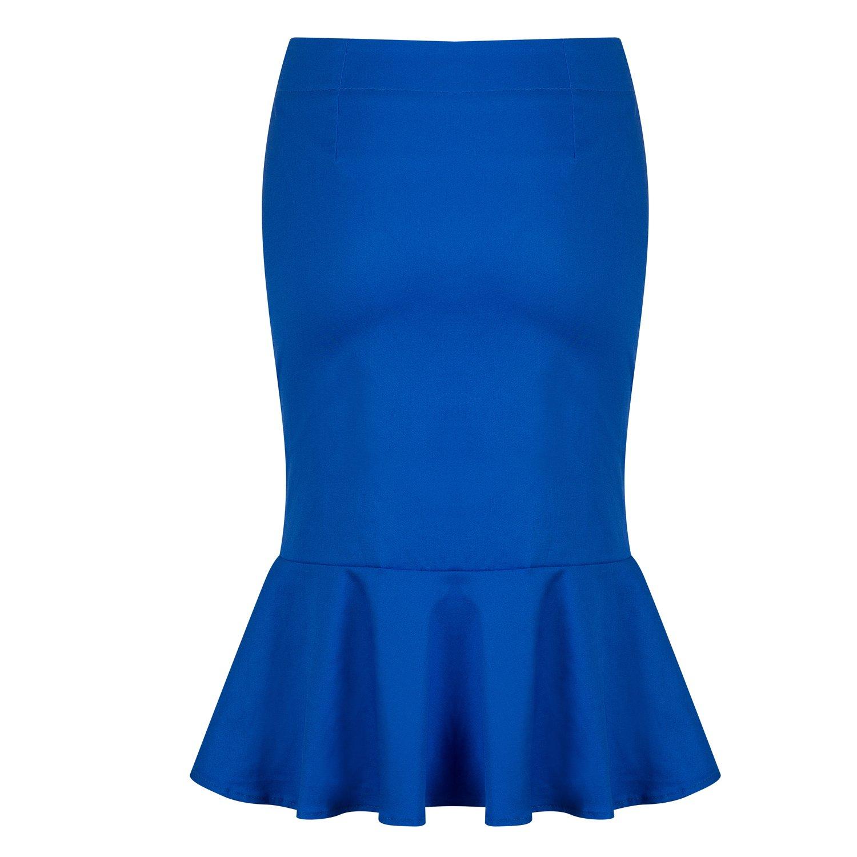 b550de3fccd Amazon.com  Pinup Fashion Women s Vintage Mermaid Skirt High Waist Fishtail  Hem Solid Bodycon Pencil Midi Wear to Work Skirts  Clothing