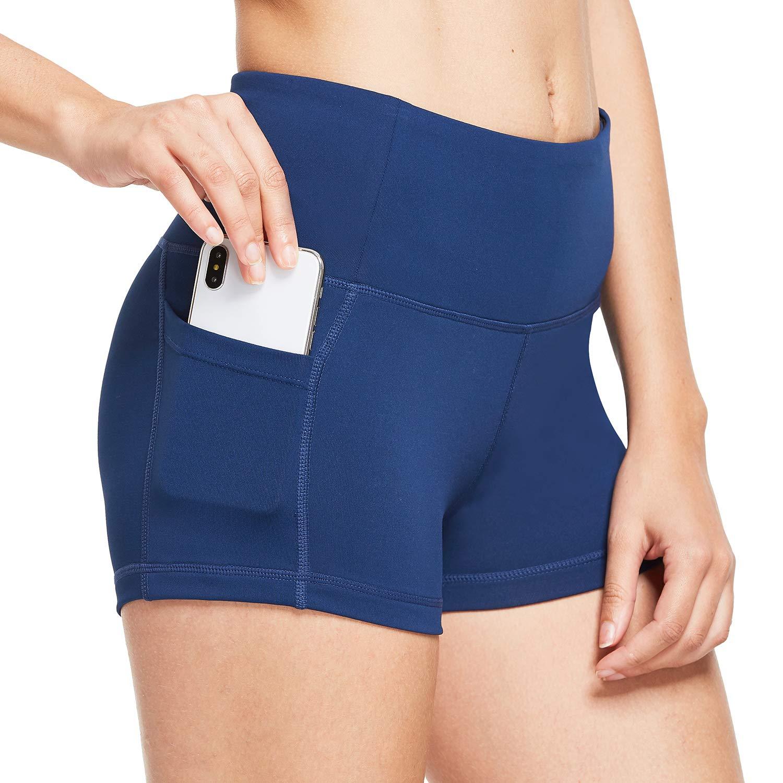 BALEAF Women's 2'' High Waist Workout Yoga Shorts Tummy Control Side Pockets Navy Blue L by BALEAF
