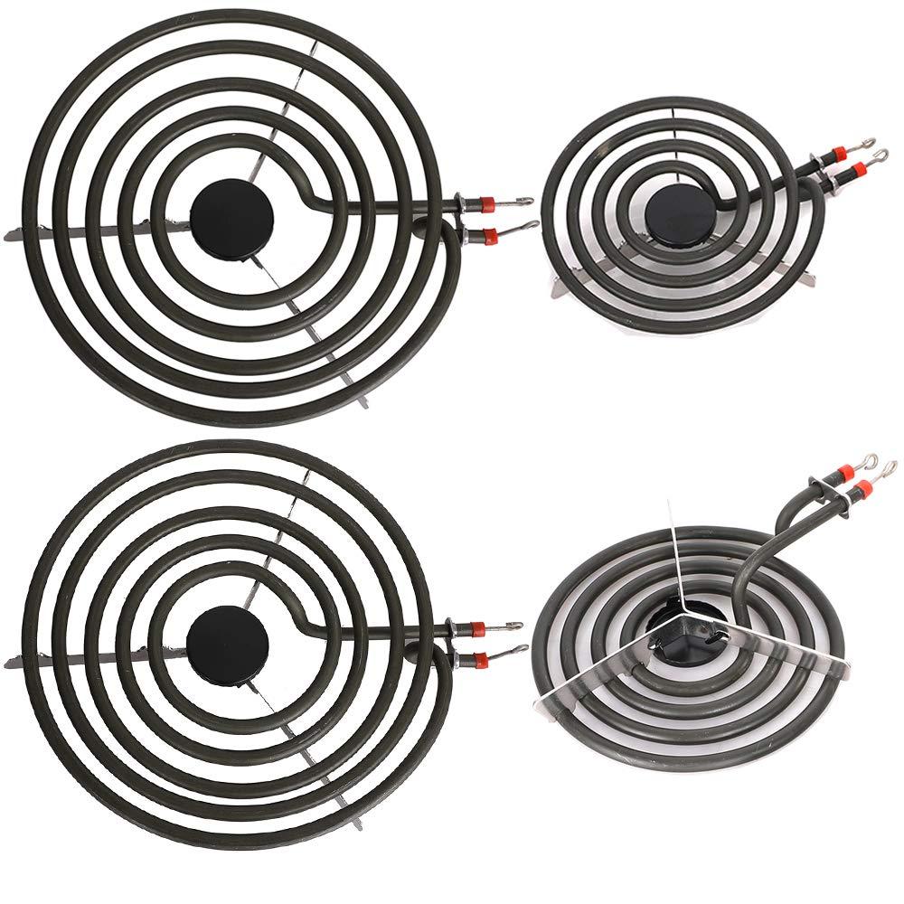 """Electric Range Burner Element Unit Set for Most Ranges- 2 pcs MP15YA 6"""" and 2 pcs MP21YA 8"""""""