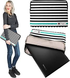 Computer Sleeve PU Leather Zipper Pouch Bag Fit 13.3 14 Inch MSI, Dell, Asus, Samsung, LG, Acer Laptop, Blue