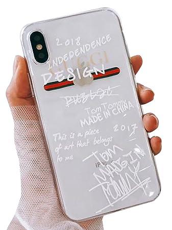 new product b6d7e 211da (タコストア) taco store iPhone ケース グッチ 風 らくがき デザイン が ネオ おしゃれ X クリア