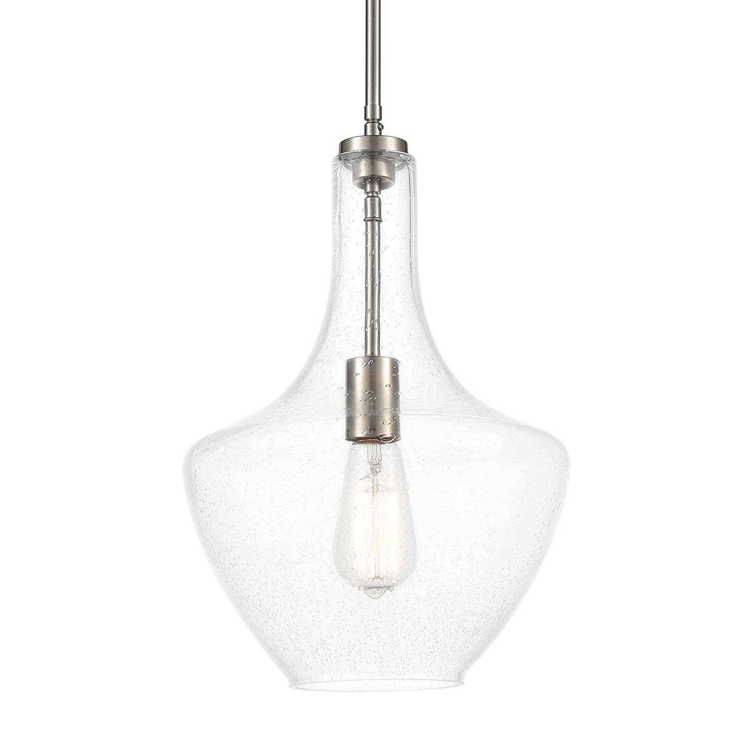 Light Society LS-C263-SN-SD Sienna Kitchen Pendant Swivel Adapter for Level or Sloped Modern Farmhouse Décor Hanging LED Ceiling Lights Fixture, Glass Shade, Satin Nickel/Seeded