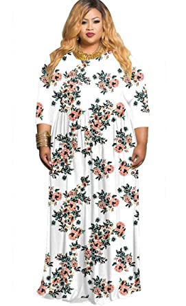 46bc0e5b6d9 KSHUN Women Casual Plus Size Maxi Dresses 3/4 Sleeve Round Neck Printed  Cocktail Dress